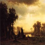 Albert Bierstadt (1830-1902)  An Indian Encampment  Oil on canvas, 1861  13 1/4 x 18 3/4 inches (33.66 x 47.63 cm)  Public collection